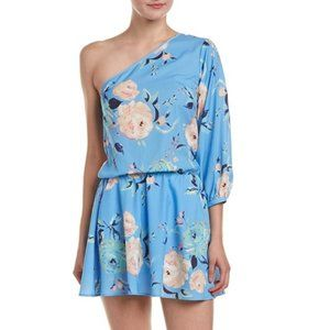 YUMI KIM Blue Floral One Shoulder Mini Dress Small